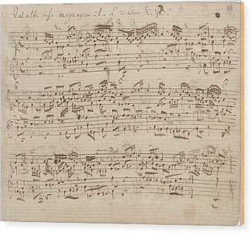 Old Music Notes - Bach Music Sheet Wood Print