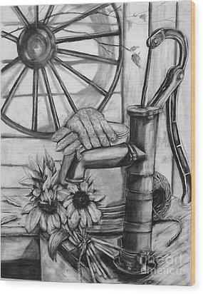 Old Water Pump Wood Print by Laneea Tolley