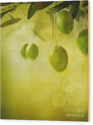 Olives Design Background Wood Print by Mythja  Photography