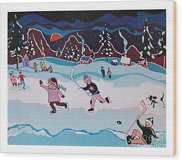Wood Print featuring the painting On Frozen Pond by Joyce Gebauer