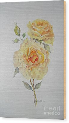Wood Print featuring the painting One Rose Or Two by Beatrice Cloake
