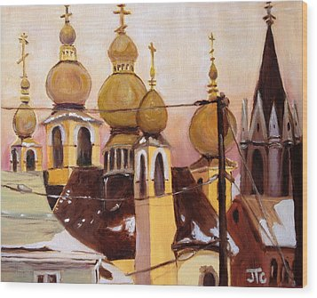 Wood Print featuring the painting Onion Domes by Julie Todd-Cundiff