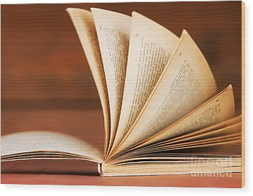 Open Book In Retro Style Wood Print by Michal Bednarek