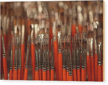 Orange Paintbrushes Wood Print by Dorin Adrian Berbier
