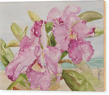 Orchid On The Beach Wood Print