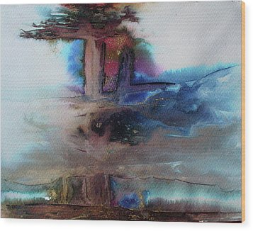 Wood Print featuring the painting Out Of The Mist by Mary Sullivan