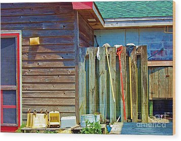 Out To Dry Wood Print by Debbi Granruth