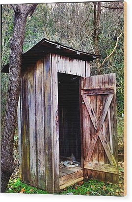 Outhouse Wood Print by Janice Spivey