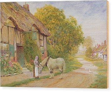 Outside The Village Inn Wood Print by Arthur Claude Strachan
