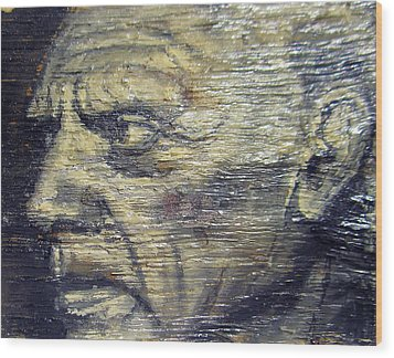 Pablo Picasso Face Portrait - Painting On The Wood Wood Print by Nenad Cerovic