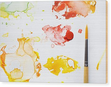 Paint Splatters And Paint Brush Wood Print by Chris Knorr