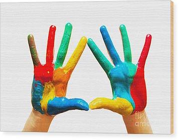 Painted Hands Wood Print by Michal Bednarek