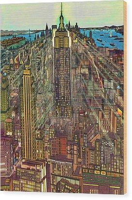 New York Mid Manhattan 71 Wood Print by Art America Gallery Peter Potter