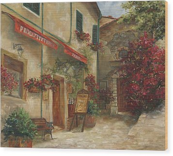 Panini Cafe' Wood Print by Chris Brandley