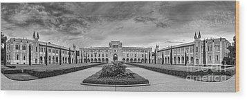 Panorama Of Rice University Academic Quad Black And White - Houston Texas Wood Print