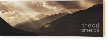 Panoramic View Of Dolomite Alps Wood Print by Evgeny Kuklev