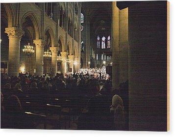 Paris France - Notre Dame De Paris - 01131 Wood Print by DC Photographer