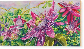 Passionflower Party Wood Print by Janis Grau