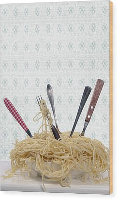 Pasta For Five Wood Print by Joana Kruse