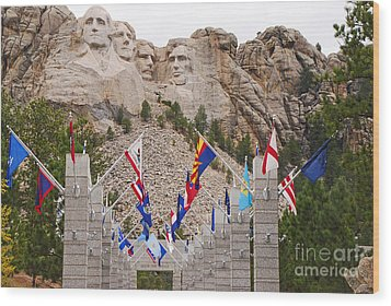 Patriotic Faces Wood Print by Mary Carol Story