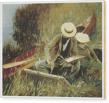 Paul Helleu Sketching With His Wife Wood Print by John Singer Sargent