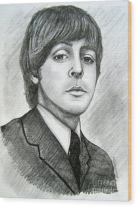 Wood Print featuring the drawing Paul Mccartney by Patrice Torrillo