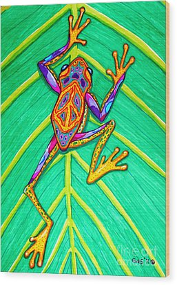 Peace Frog Wood Print by Nick Gustafson