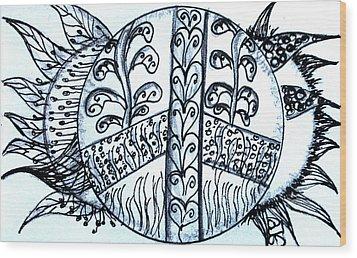 Peace Sun Flower Wood Print