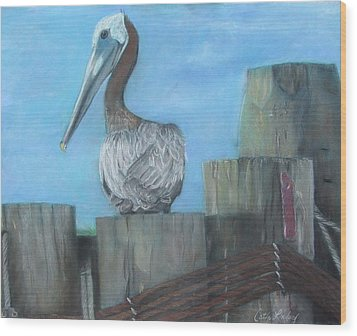 Pelican At Hatteras Ferry Wood Print
