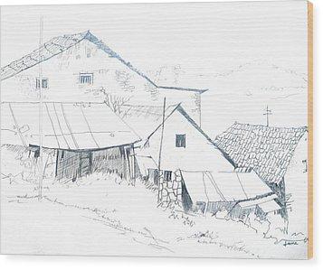 Pencil Drawing Wood Print by Rejeena Niaz