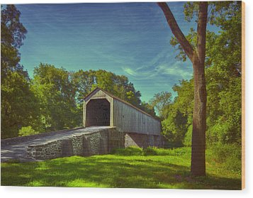 Pennsylvania Covered Bridge Wood Print by Phil Abrams