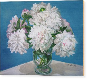 Wood Print featuring the painting Peonies II by Laura Aceto