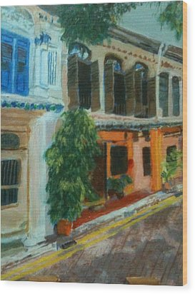 Wood Print featuring the painting Peranakan House by Belinda Low