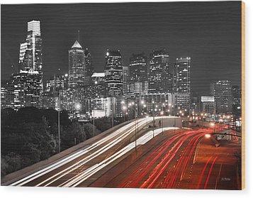 Philadelphia Skyline At Night Black And White Bw  Wood Print by Jon Holiday