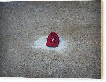 Phillies Home Plate Wood Print by Bill Cannon