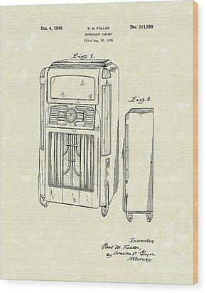 Phonograph Cabinet 1938 Patent Art Wood Print by Prior Art Design