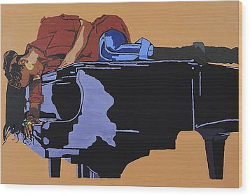 Piano And I Wood Print by Rachel Natalie Rawlins