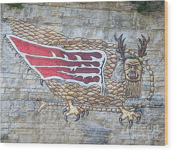 Wood Print featuring the photograph Piasa Bird by Kelly Awad