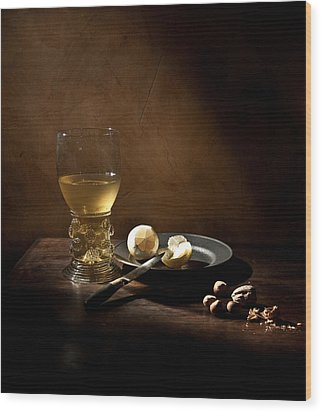 Pieter Claesz - Still Life With A Large Roemer Wood Print by Levin Rodriguez