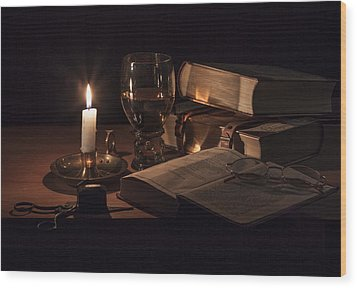 Vanitas With Lit Candle-roemer And Books Wood Print by Levin Rodriguez