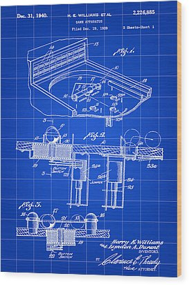 Pinball Machine Patent 1939 - Blue Wood Print by Stephen Younts