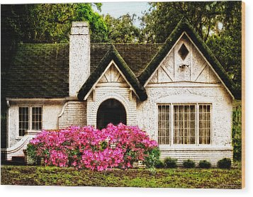 Pink Azaleas - Old Southern Charm By Sharon Cummings Wood Print by Sharon Cummings