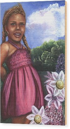 Pink Dress Wood Print by Alga Washington
