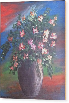 Wood Print featuring the painting Pink Flowers by Bozena Zajaczkowska