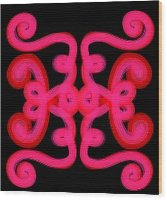 Wood Print featuring the digital art Pink Scroll by Christine Fournier