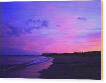 Pink Sky And Beach Wood Print