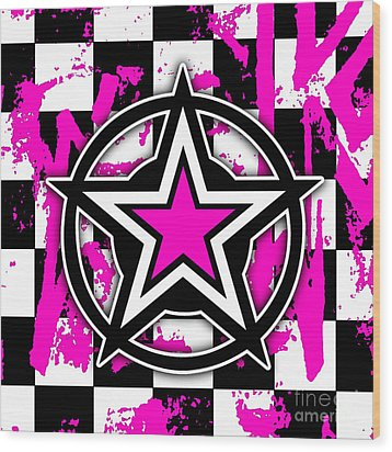 Pink Star Checkerboard Wood Print by Roseanne Jones