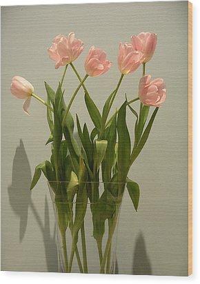 Pink Tulips Wood Print by Karen Nicholson