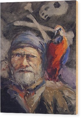 Pirate With Bird And Flag Wood Print by R W Goetting