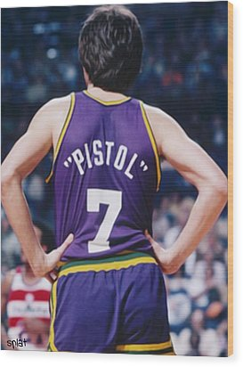 Pistol Pete Maravich Wood Print by Paint Splat